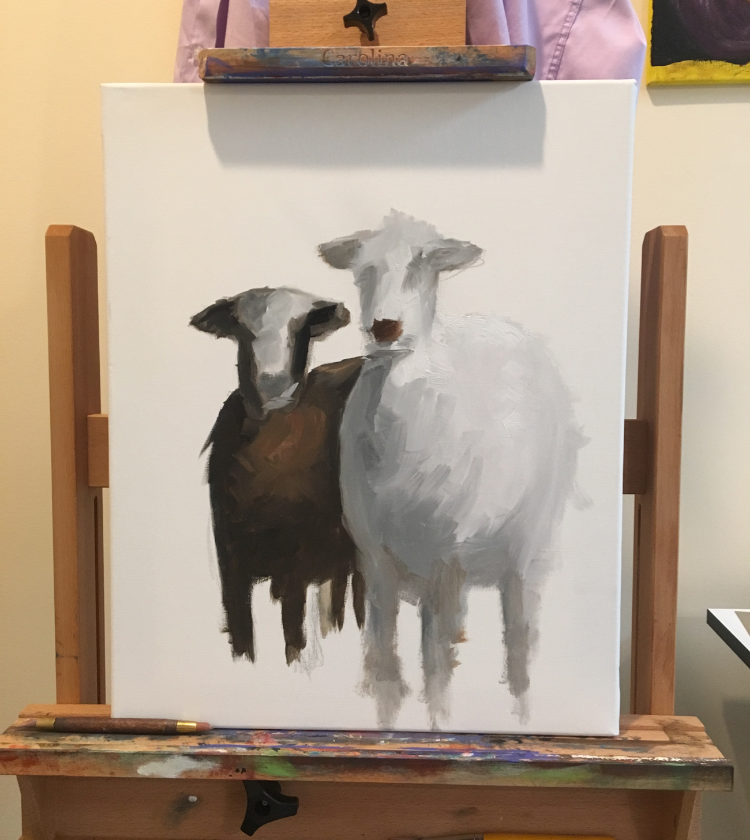 Painting in the goats from initial rough sketch