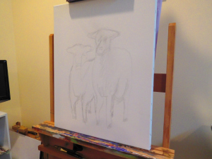 Early rough sketch onto a stretched canvas, composition of two goats in a field