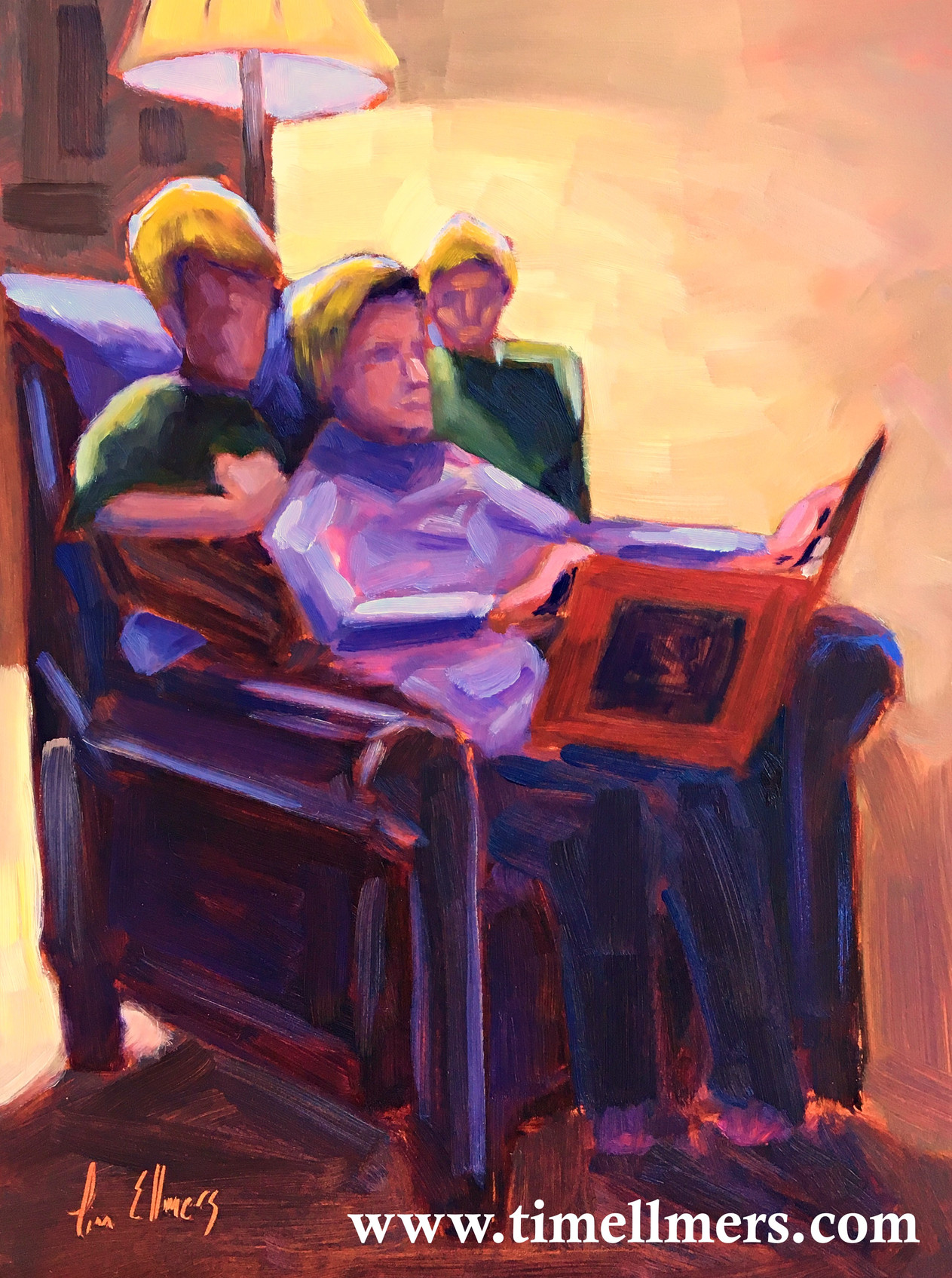 Gammy Reads a Christmas Story; 9 x 12 in., Oil on Panel