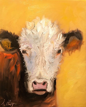 Midnight Cow Painting