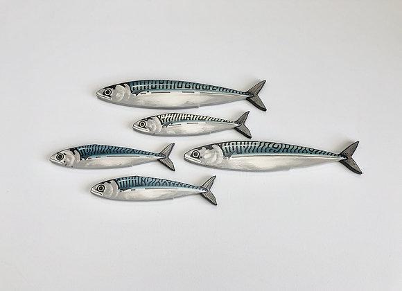 Mackerel Fish Wall Art Sculptures - 5 Fish