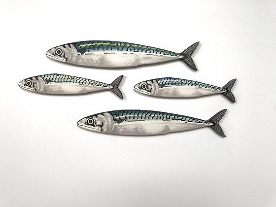 Mackerel Fish Wall Sculpture Artworks - 4 Fish