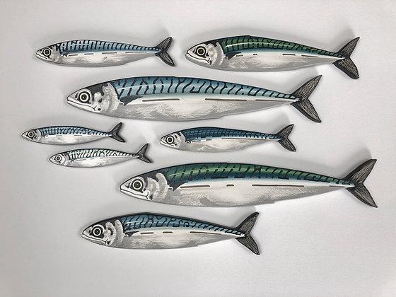 8 Mackerel Fish Shoal Wall Sculpture Artworks - 8 Fish