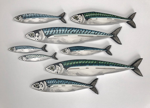 8 Mackerel Fish Shoal Wall Art Sculptures