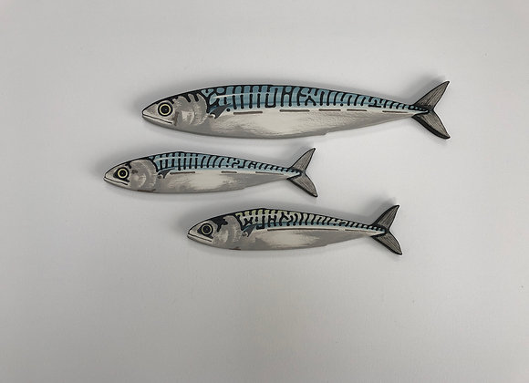 Mackerel Fish Wall Art Sculpture - 3 Fish