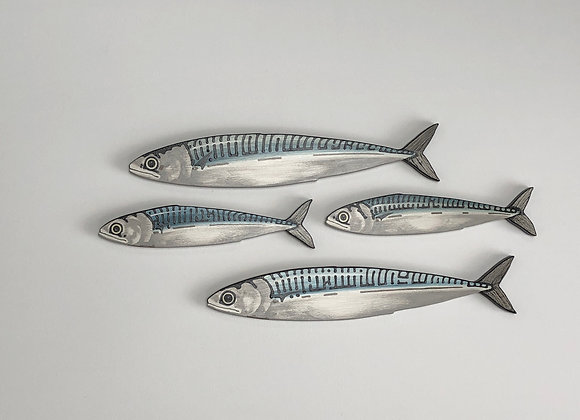 Mackerel Fish Wall Art Sculptures - 4 Fish