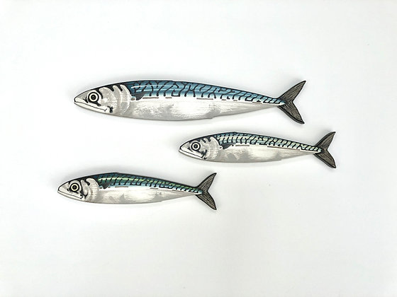Mackerel Fish Wall Sculpture Artworks - 3 Fish