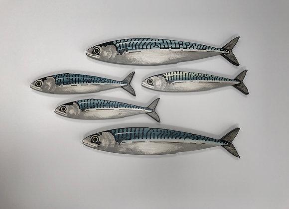 Mackerel Fish Wall Decor Sculpture - 5 Fish