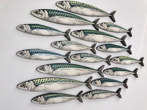 Mackerel Fish Wall Sculpture Artworks - 20 Fish
