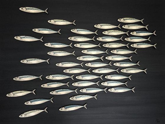 Contemporary 3D Mackerel Sculptures on Canvas