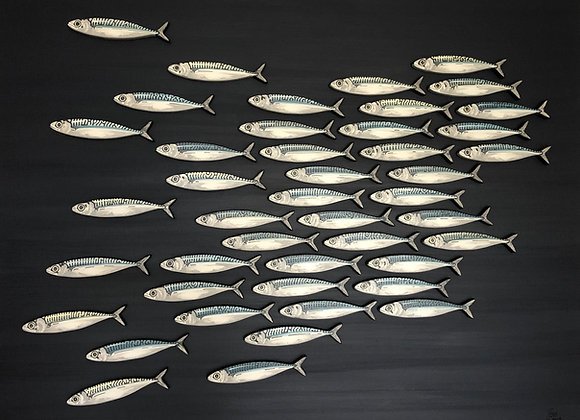 Contemporary 3D Mackerel Sculptures on Canvas