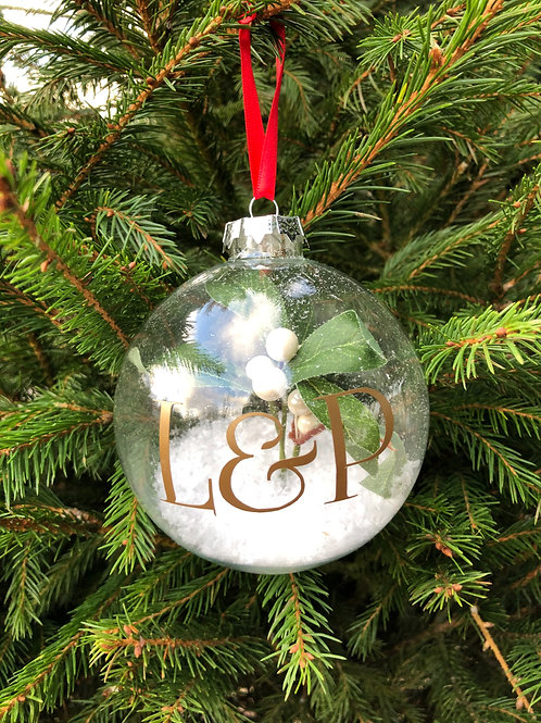 Personalised mistletoe bauble