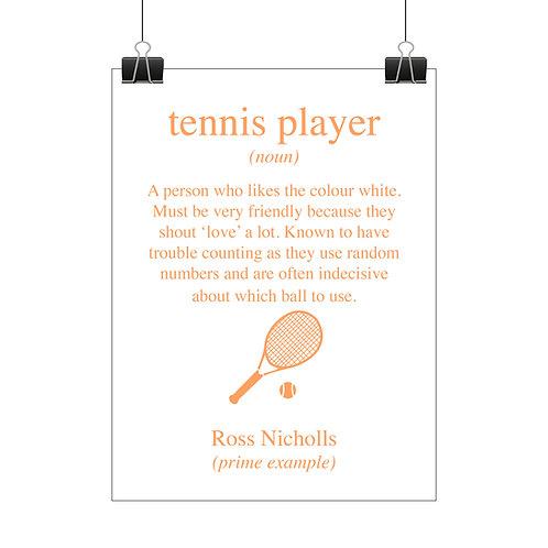 Personalised tennis player print