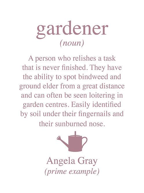 Personalised gardener print