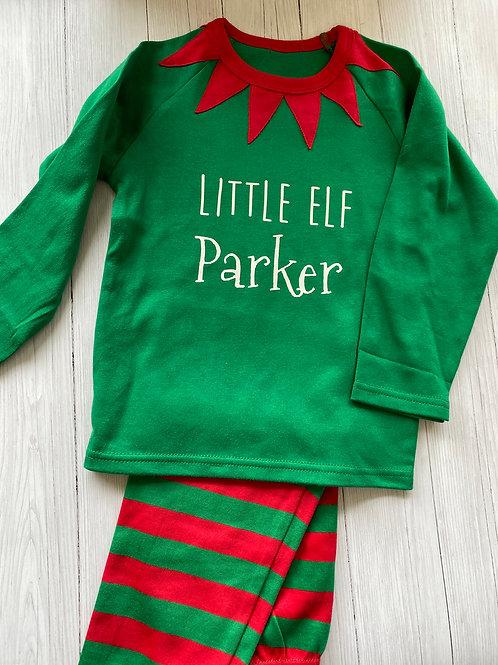 Personalised children's elf pyjamas