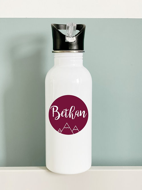 Personalised circle name water bottle