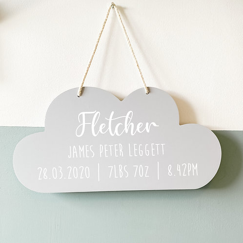 Personalised cloud hanging decoration