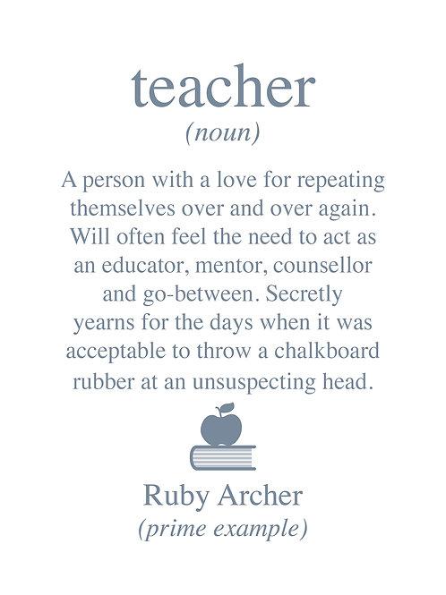 Personalised teacher print