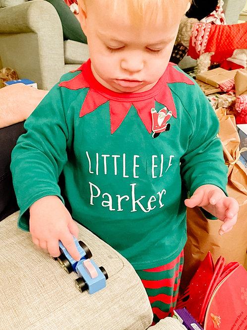 Personalised children's elf Christmas pyjamas