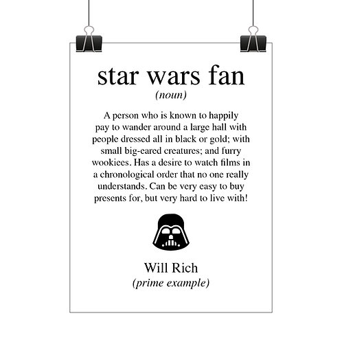Personalised Star Wars fan print