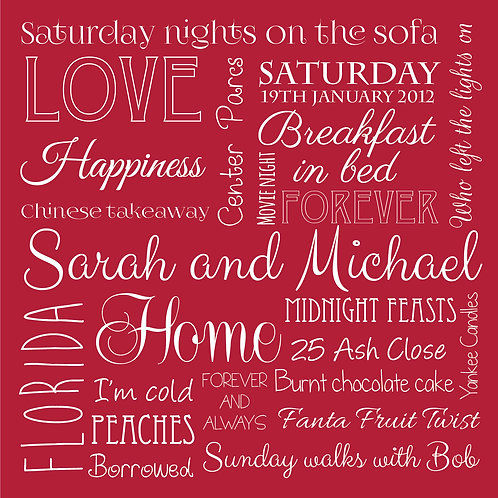 Personalised word montage print