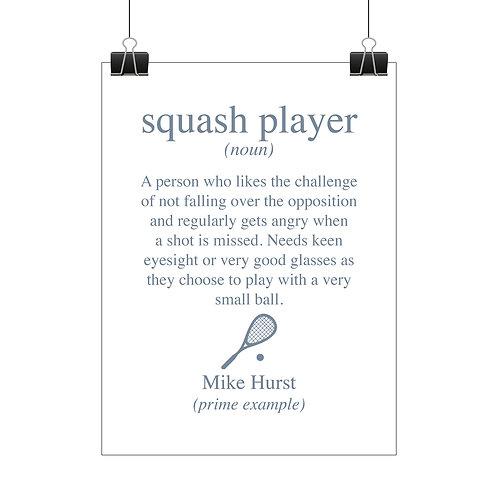 Personalised squash player print
