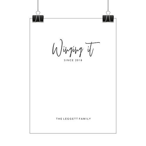 Personalised winging it print