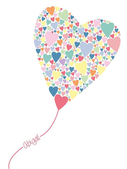 Personalised heart balloon print