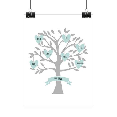 Personalised family tree hearts print