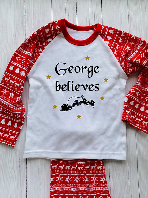 Personalised children's Christmas pyjamas