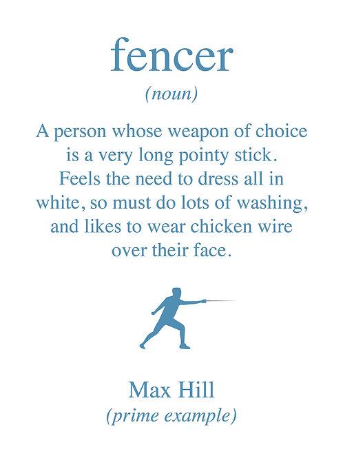 Personalised fencer print