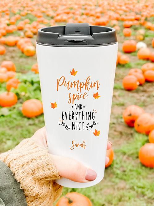 Personalised pumpkin spice travel mug
