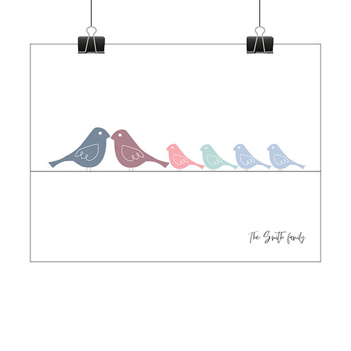 Personalised family of birds print