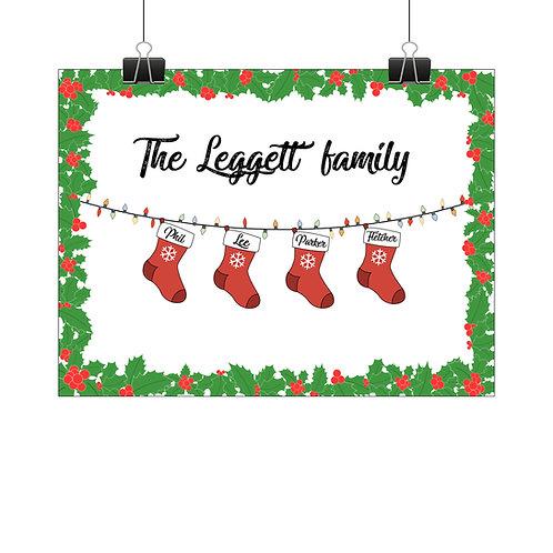 Personalised Christmas stockings print