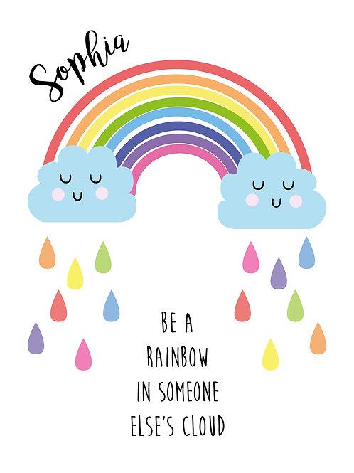 Personalised rainbow cloud print