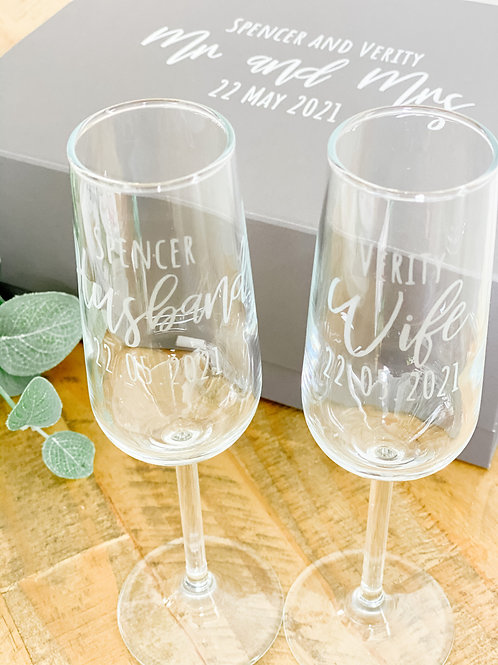 Personalised wedding champagne flute