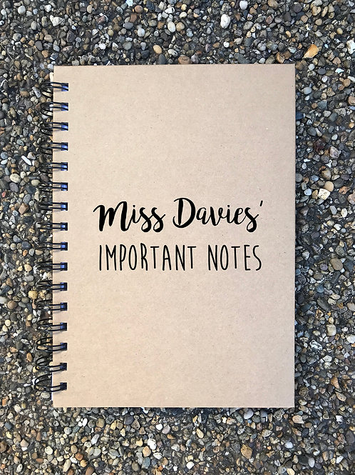 Personalised important notes notebook