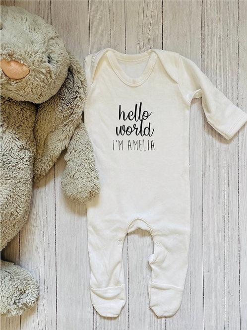 Personalised 'hello world' babygrow