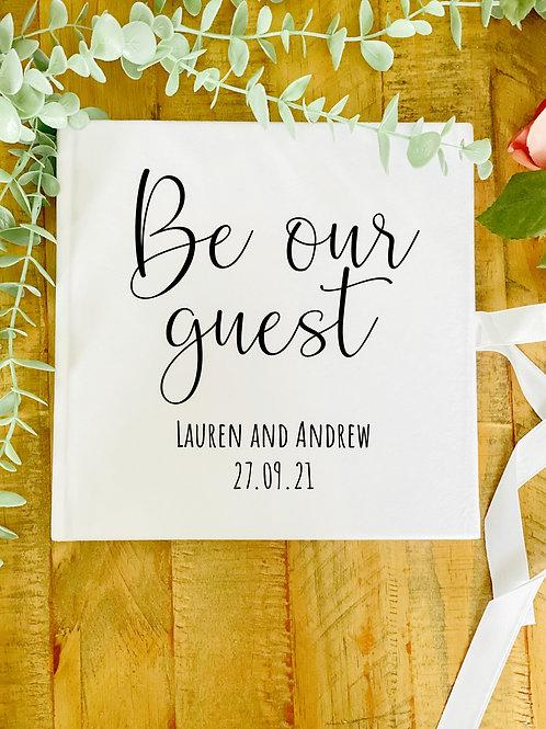 Personalised white velvet guest book