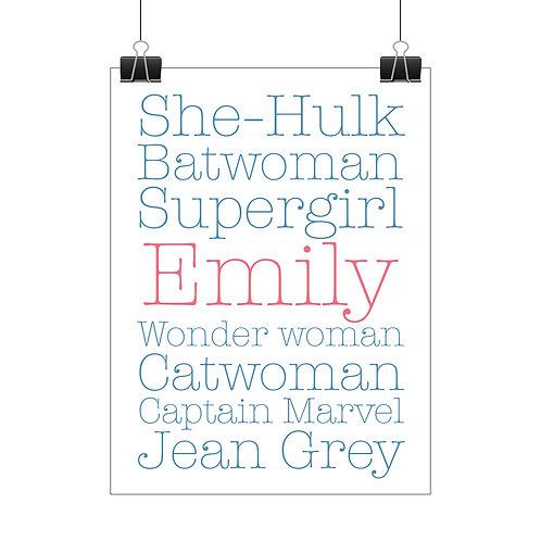Personalised girls superhero print