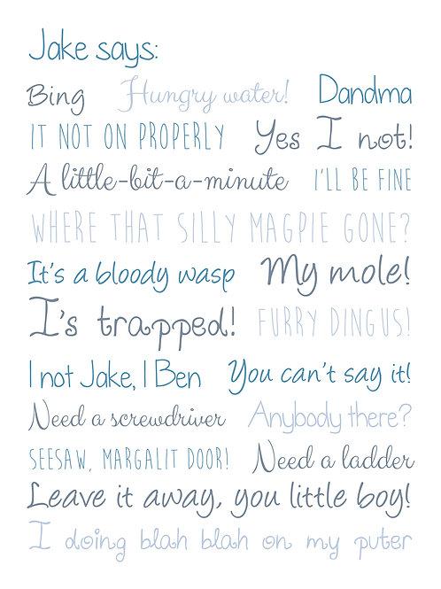 Personalised sayings print