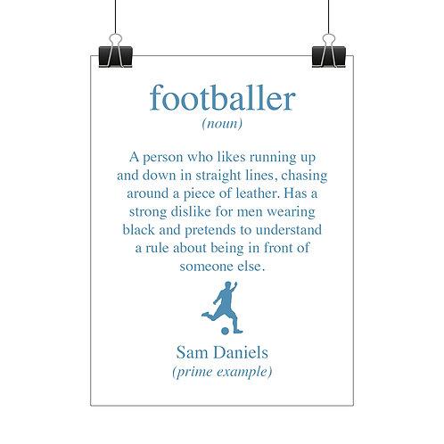 Personalised footballer print
