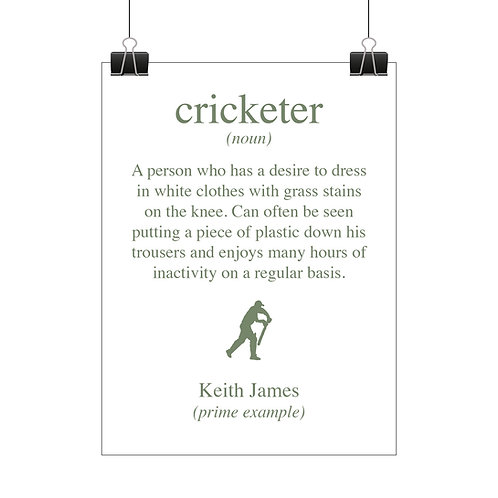 Personalised cricketer print