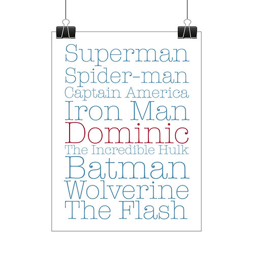 Personalised boys superhero print
