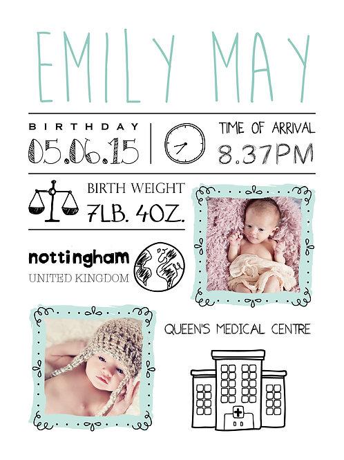 Personalised new baby photo print