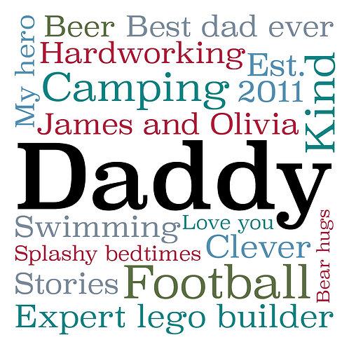 Personalised dad word montage print