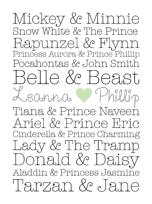 Personalised fairytale couples print