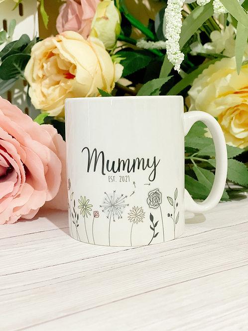 Personalised flower mug