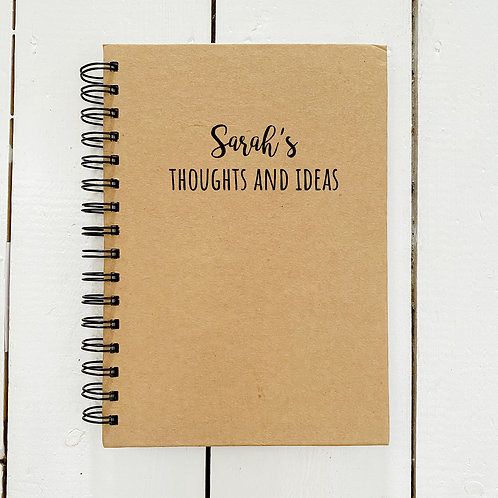 Personalised thoughts and ideas notebook