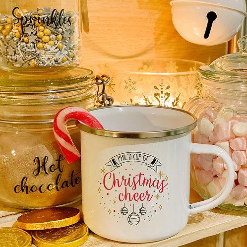 Personalised enamel Christmas mug